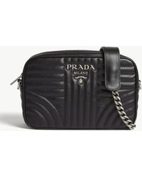 a05d99a4db0334 Prada - Black Striped Stripe Diagramme Leather Shoulder Bag - Lyst