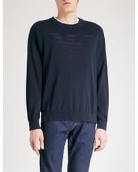 Emporio Armani - Logo-detail Knitted Jumper - Lyst