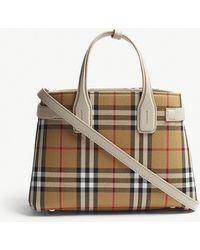 Burberry - Brown Check Banner Small Vintage And Leather Tote Bag - Lyst