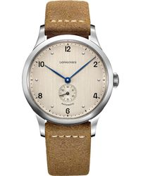 Longines - L28134660 Heritage Automatic Stainless Steel Brown Leather Watch - Lyst