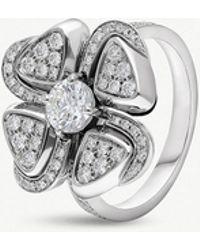 BVLGARI - Fiorever 18ct White-gold And Diamond Ring - Lyst