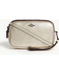 Lyst - COACH Floral Leather Crossbody Bag in Black 865b4e9af6cc3