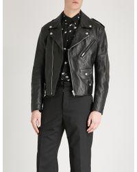 Givenchy - Monogram-lined Leather Biker Jacket - Lyst