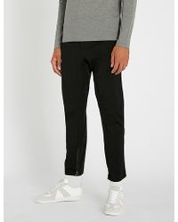 Lanvin - Striped Slim-fit Tapered Stretch-wool Cropped Trousers - Lyst