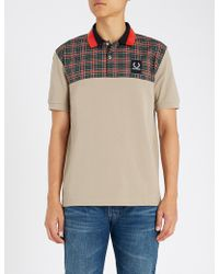 Fred Perry - Check Print Polo Shirt - Lyst