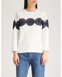 Claudie Pierlot - Lace-trim Cotton-jersey Sweatshirt - Lyst