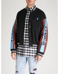 Marcelo Burlon - Logo-print Wool-blend And Leather Bomber Jacket - Lyst
