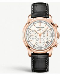 Longines - L2.752.8.72.3 Saint Imeir 18ct Rose-gold And Crocodile-embossed Leather Chronograph Watch - Lyst