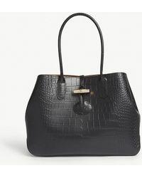 Longchamp - Roseau Croc-embossed Leather Tote Bag - Lyst
