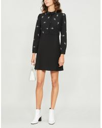 Maje - Riwest Embroidered Crepe Dress - Lyst