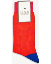 Thomas Pink - Ulffson Dogtooth Cotton-blend Socks - Lyst