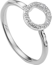 Monica Vinader - Riva Mini Circle Sterling Silver And Diamond Stacking Ring - Lyst