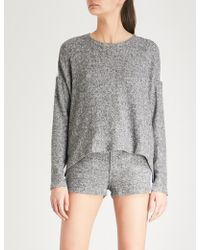 The Kooples - Panelled Fleeced And Lace Jumper - Lyst