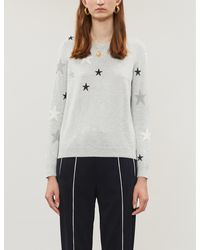 The White Company Star-pattern Cotton And Wool-blend Jumper - Gray