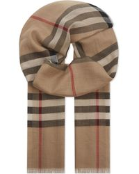 Burberry - Giant Check Wool And Silk-blend Scarf - Lyst
