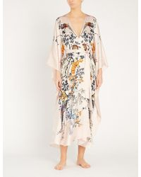 Meng - Floral-pattern Batwing-sleeve Silk Robe - Lyst