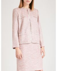 St. John - Fringed-trim Metallic-tweed Jacket - Lyst