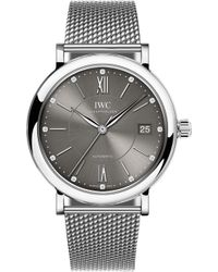 Iwc - Iw458110 Portofino Stainless Steel And Diamond Watch - Lyst