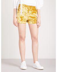 Mo&co. - Crushed-velvet Shorts - Lyst