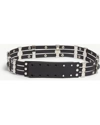 Maje - Amino Strass And Stone Leather Belt - Lyst