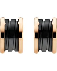 BVLGARI - B.zero1 18kt Pink-gold Earrings With Black Ceramic - Lyst