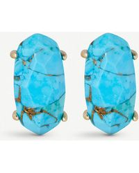 Kendra Scott - Betty 14ct Gold-plated Bronze Veined Turquoise Stud Earrings - Lyst