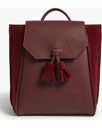 Longchamp - Red Pénélope Leather And Velvet Backpack - Lyst