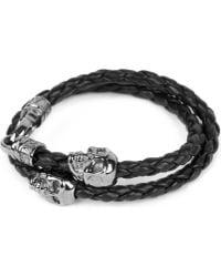 Nialaya - Braided Leather And Skull Bracelet - Lyst