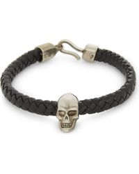Alexander McQueen - Skull Charm Braid Leather Bracelet - Lyst