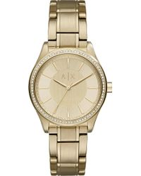 Armani Exchange - Ax5441 Crystal-embellished Gold Watch - Lyst