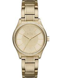 Armani Exchange - Ax5441 Crystal-embellished Gold Watch - Lyst