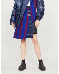 Sacai - Stripe Wool Quilted Skirt - Lyst