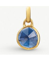 Monica Vinader - Siren Mini 18ct Gold Vermeil And Kyanite Bezel Pendant - Lyst