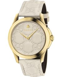 Gucci - Ya1264033 G-timeless Yellow Gold-plated Stainless Steel And Leather Watch - Lyst