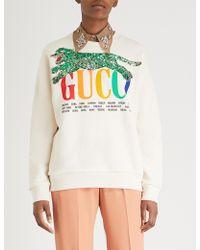 Gucci - Sequinned Logo-print Cotton-jersey Sweatshirt - Lyst