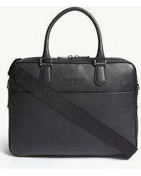 Emporio Armani - Grained Leather Briefcase - Lyst