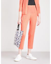 Pleats Please Issey Miyake - High-rise Skinny Pleated Cropped Trousers - Lyst