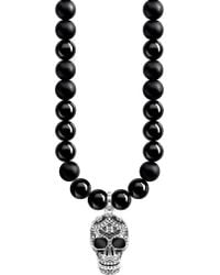 Thomas Sabo - Rebel At Heart Skull Sterling Silver And Obsidian Necklace - Lyst