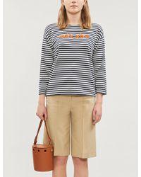 Chinti & Parker - Très Bien Slogan Cropped-sleeve Cotton-jersey Top - Lyst