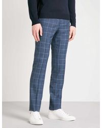 Corneliani | Checked Tailored-fit Wool And Silk-blend Trousers | Lyst