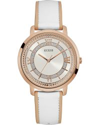 Guess - W0934l1 Montauk Rose Gold Plated Stainless Steel And Leather Watch - Lyst