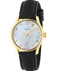 Gucci - Ya126589 G-timeless Mother-of-pearl And Leather Strap Quartz Watch - Lyst
