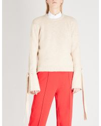 Mo&co. - Tie-sleeve Knitted Jumper - Lyst