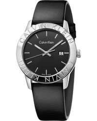 Calvin Klein | K7q211c1 Steady Stainless Steel And Leather Watch | Lyst