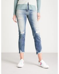 AG Jeans - Isabelle Distressed Straight High-rise Jeans - Lyst