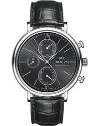 Iwc - Portofino Chronograph Alligator-leather Watch - Lyst