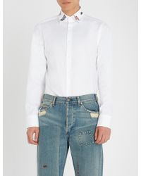 Gucci - Embroidered Collar Regular-fit Cotton Shirt - Lyst