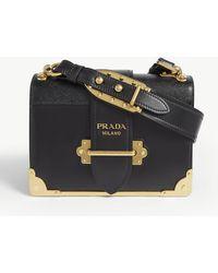 Prada Cahier Leather Shoulder Bag - Black