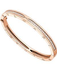 BVLGARI - B.zero1 18kt Pink-gold And Pavé Diamond Bangle Bracelet - Lyst