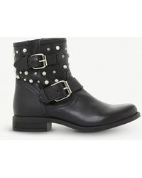 Steve Madden - Cameo Leather Pearl And Stud Biker Boots - Lyst